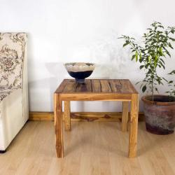 Farmed Teak Tung Oil Finished Inlay End Table (Thailand) - Thumbnail 2