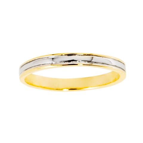 NEXTE Jewelry 14k Gold Overlay Men's Center Rail Band (3 mm)