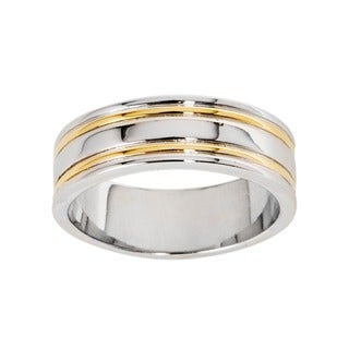 NEXTE Jewelry 14k Gold Overlay Men's Double Rail Band (7 mm) (More options available)