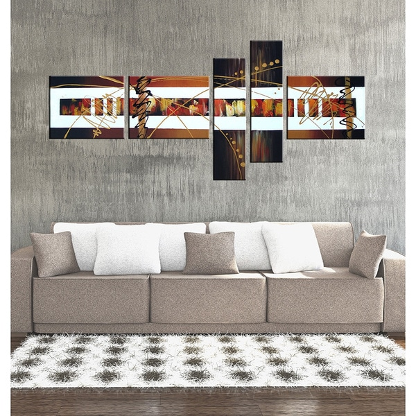 'Hand-painted Abstract 102' Gallery-wrapped Canvas Art Set