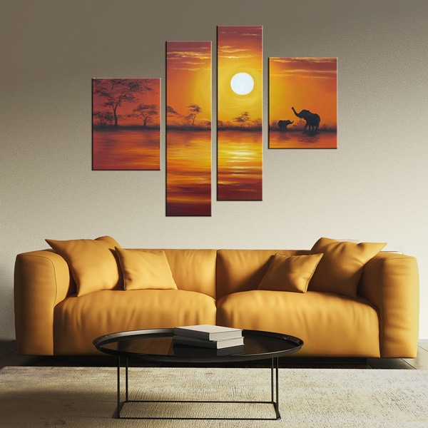 Hand Painted 'African Sunset' Oil on Canvas Art Set