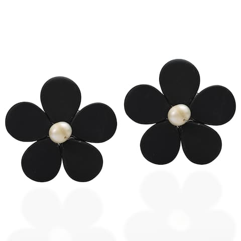 Handmade Rhodium-plated Adorable Daisy Onyx/ Pearl Earrings (Thailand)