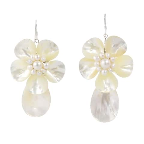 Handmade Sterling Silver Mother of Pearl Shell and Pearl Earrings (Thailand)