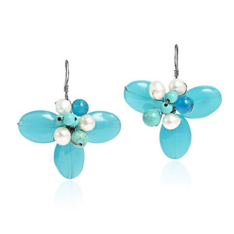 Handmade Dreamy Chalcedony Flower Earrings (Thailand)