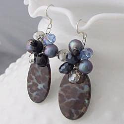 Handmade Sterling Silver Smokey Quartz, Black Agate and Crystal Earrings (Thailand)