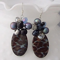Sterling Silver Smokey Quartz, Black Agate and Crystal Earrings (Thailand)