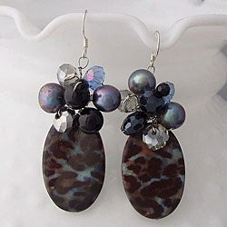 Handmade Sterling Silver Smokey Quartz, Black Agate and Crystal Earrings (Thailand)