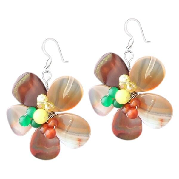 Handmade Silver Carnelian, Aventurine, Honey Jade and Crystal Earrings (Thailand)