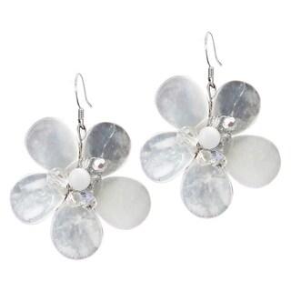 Sterling Silver Clear Quartz Flower Earrings (Thailand)