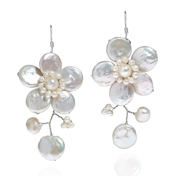 Handmade Sterling Silver 'Lace Sakura' White Pearl Flower Earrings (Thailand)