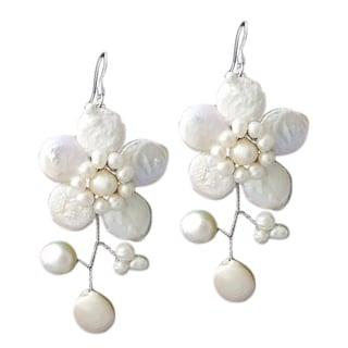 Handmade Sterling Silver 'Lace Sakura' White Pearl Flower Earrings (Thailand)