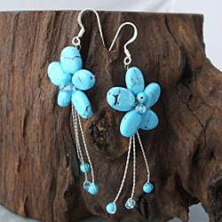 Handmade Sterling Silver Reconstituted Turquoise Flower Earrings (Thailand) - Thumbnail 1
