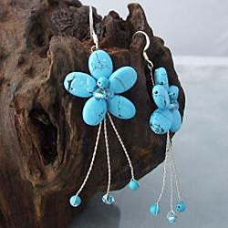 Handmade Sterling Silver Reconstituted Turquoise Flower Earrings (Thailand) - Thumbnail 2