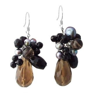 Handmade Sterling Silver Smokey Quartz and Black Pearl Teardrop Earrings (Thailand)