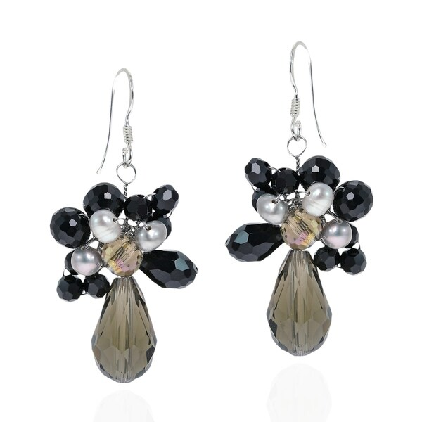 f874695df Handmade Sterling Silver Smokey Quartz and Black Pearl Teardrop Earrings  (Thailand)