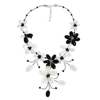 Handmade Stainless Steel Black Agate and Moonstone Flower Necklace (Thailand)|https://ak1.ostkcdn.com/images/products/5106166/P12958428.jpg?impolicy=medium