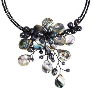 Handmade Memory Wire Black Shell and Freshwater Pearl Flower Necklace (Thailand)
