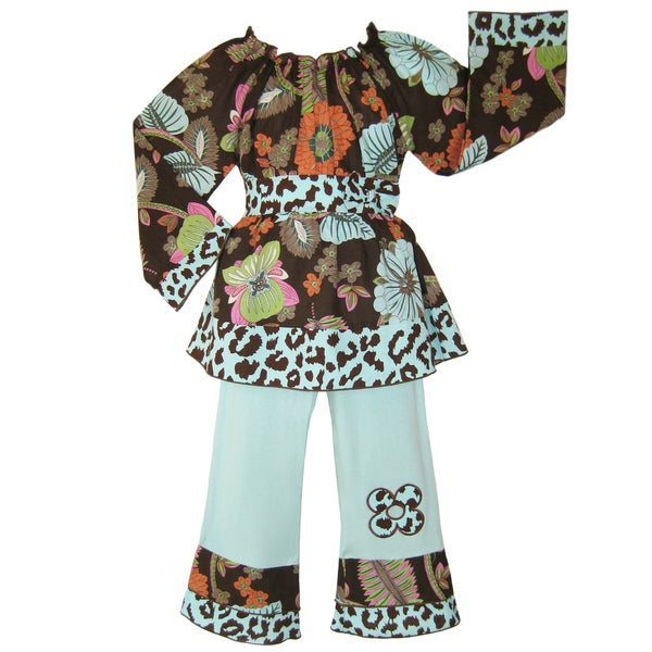 Ann Loren Boutique Girl's Smocked Floral Cheetah Shirt and Pants Set