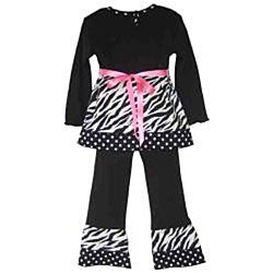 Ann Loren Boutique Girl's Zebra and Dots Shirt and Pants Set