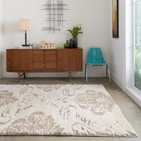 Mid-century Ivory/ Beige Floral Damask Square Shag Area Rug - 7'7 x 7'7