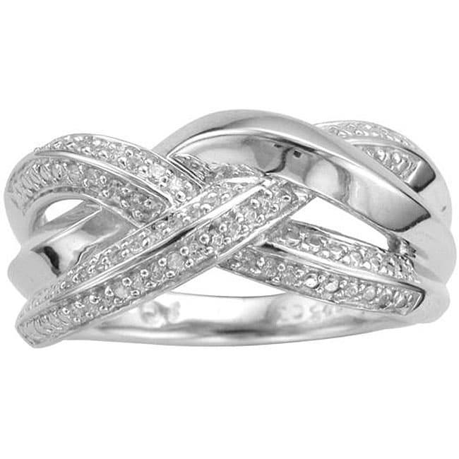 Unending Love Sterling Silver 1/8ct TDW Diamond Cross-over Fashion Ring (I-J, I3) - Thumbnail 0