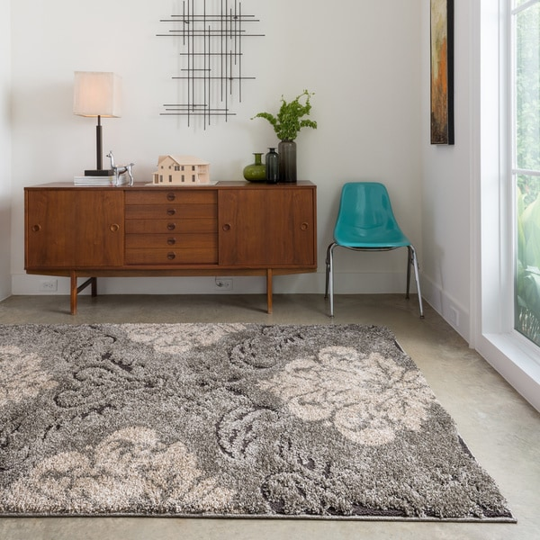 Mid-century Taupe/ Beige Floral Damask Shag Area Rug - 3'10 x 5'7