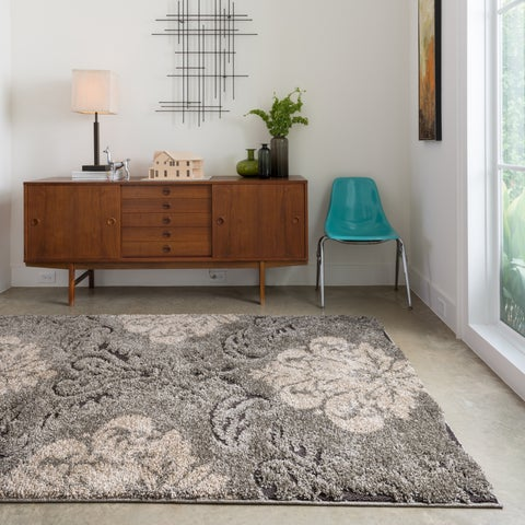 Mid-century Taupe/ Beige Floral Damask Square Shag Rug - 7'7 x 7'7