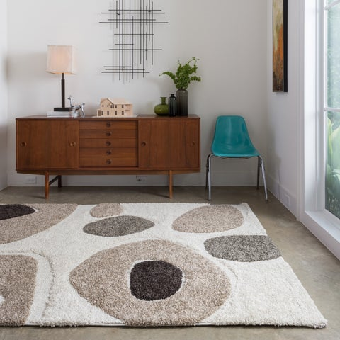 """Abstract Mid-century Ivory/ Taupe Shag Rug - 3'10"""" x 5'7"""""""