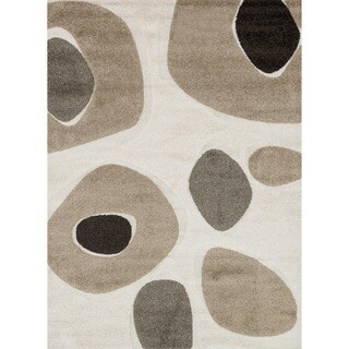 Abstract Mid-century Ivory/ Taupe Shag Rug - 2'3 x 3'9