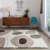 Abstract Mid-century Ivory/ Taupe Square Shag Area Rug - 7'7 x 7'7
