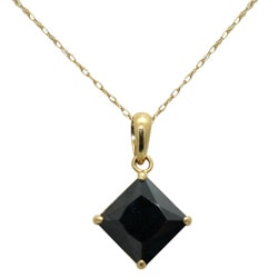 Gioelli 14k Yellow Gold Basket-set Square-cut Black Cubic Zirconia Necklace