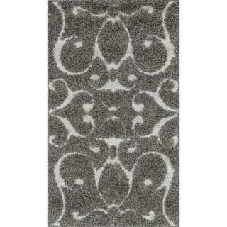Jullian Charcoal Grey/Brown Shag Rug (2'3 x 3'9)