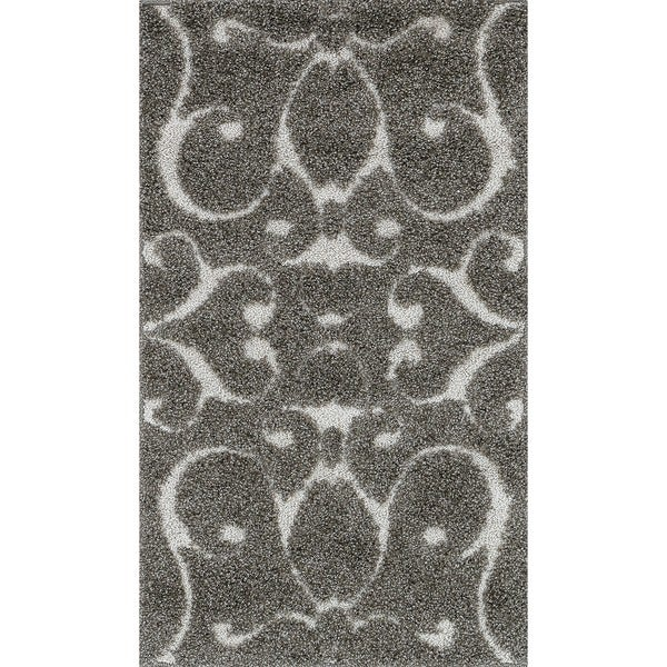 Shop Mid Century Grey Taupe Scroll Shag Rug 2 3 X 3 9