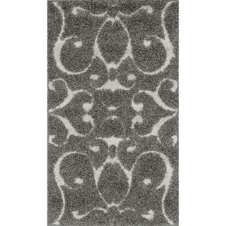 Jullian Charcoal Grey/Brown Shag Rug (2'3 x 3'9)