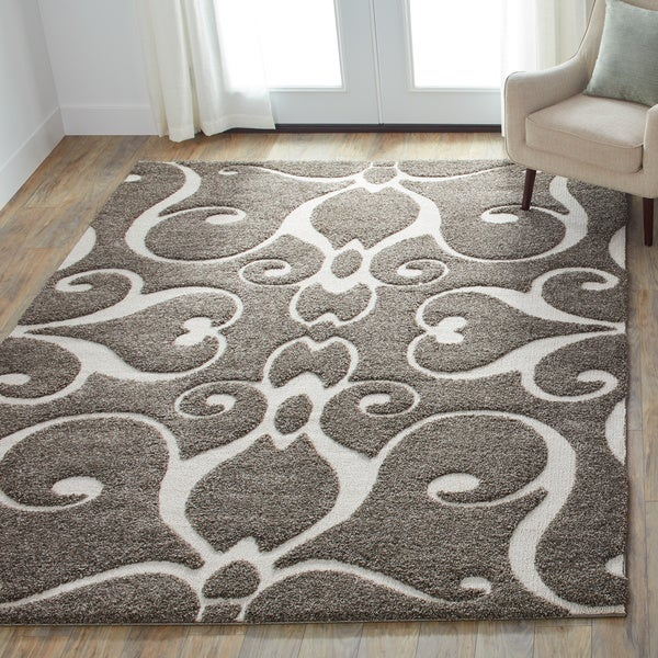 "Mid-century Grey/ Taupe Scroll Shag Area Rug - 5'3"" x 7'7"""