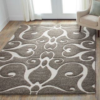 Jullian Charcoal Grey/ Brown Shag Rug (5'3 x 7'7)
