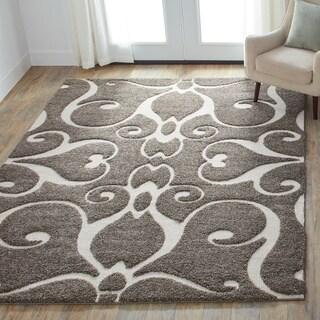 Alexander Home Jullian Charcoal Grey/Brown Shag Rug (5'3 x 7'7)