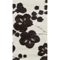 Jullian Ivory Floral Shag Rug - 2'3 x 3'9