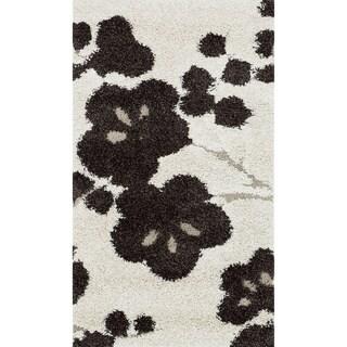 Jullian Ivory Floral Shag Rug (2'3 x 3'9)