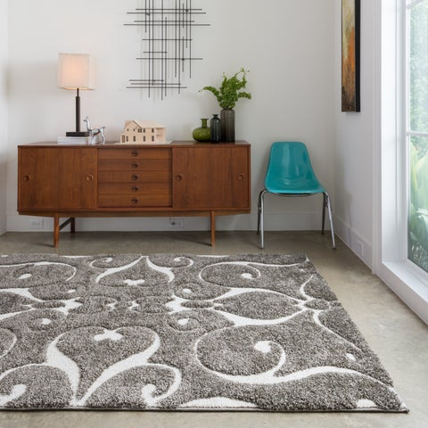 """Mid-century Grey/ Taupe Scroll Square Shag Rug - 7'7"""" x 7'7"""""""