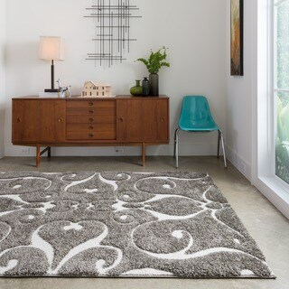 Mid-century Grey/ Taupe Scroll Square Shag Rug - 7'7 x 7'7