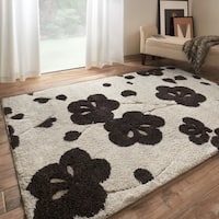 Transitional Ivory/ Brown Floral Shag Rug - 5'3 x 7'7