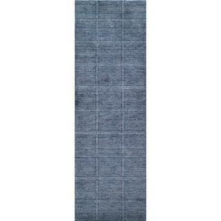 "Loft Denim Blue Hand-Loomed Wool Runner (2'6"" x 8')"
