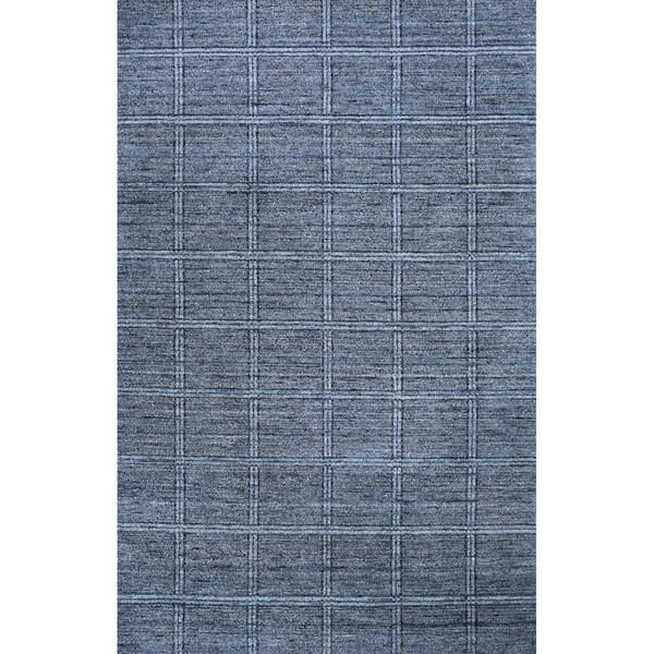 "Loft Denim Blue Hand-Loomed Wool Rug (7'6"" x 9'6"")"
