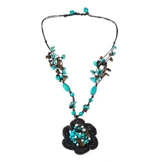Handmade Cotton Rope Turquoise and Freshwater Pearl Necklace (Thailand)