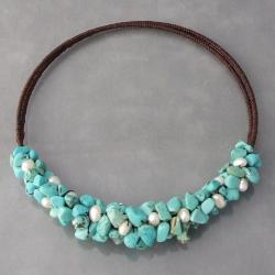 Handmade Cotton Rope Turquoise and Pearl Necklace (Thailand)
