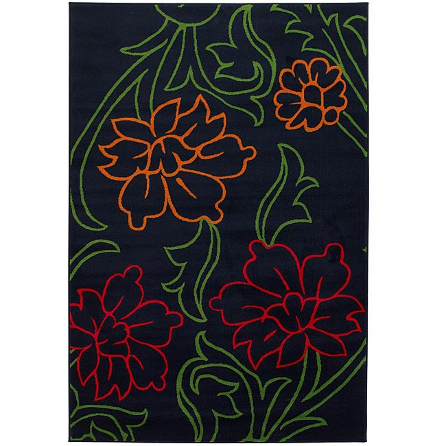 Artist's Loom Indoor Transitional Floral Rug - 5' x 8'
