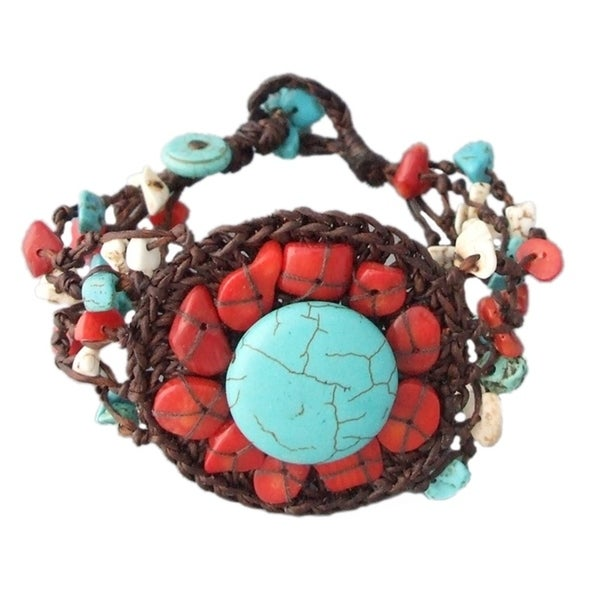 Turquoise Synthetic Coral Handmade Stranded Round Organic Bracelet