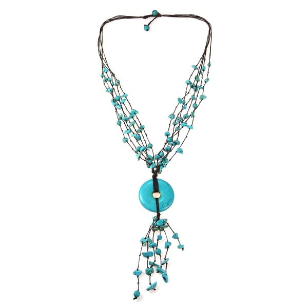 Handmade Cotton Multi-strand Turquoise Donut Rope Necklace (Thailand)