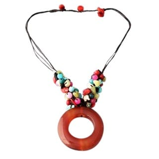 Handmade Cotton Donut Carnelian and Gemstone Necklace (Thailand)